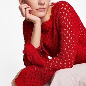 NWT Zara red open work sweater